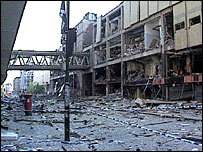 Corporation Street, Manchester after the 1996 IRA bomb