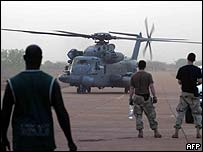 A US helicopter lands at the Bamako airfield in Mali, during operation Flintlock