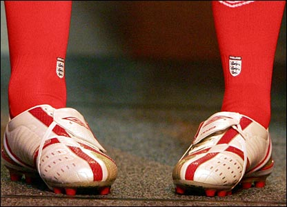 The boots and socks of England players John Terry and Michael Owen