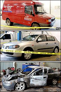 Vehicles recovered by police, top to bottom: red van; Nissan Almera; burnt out Volvo