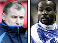 Wigan boss Paul Jewell and defender Pascal Chimbonda