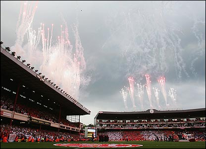 Fireworks light up the sky above Highbury