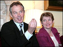 Tony Blair and education secretary Ruth Kelly
