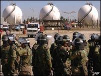 Soldiers guard a gas plant in El Alto, Bolivia