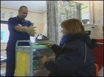 Newquay Minor Injuries Unit staff and patient