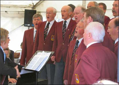A picture of Brecon Male Voice Choir in full flow (Dr Paul Henny)