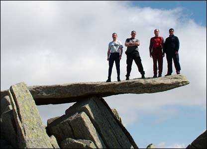 Dewi, Marc, Lewis and John on Cantilever Rock in the Glyderau, Snowdonia