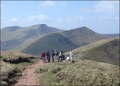 Brendan Conway from Surrey took this shot of his gang of walkers with Corn Du, Pen y Fan and Cribyn making up the backdrop