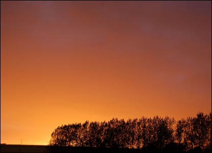 Sunset in Laleston (outside Bridgend), as captured by Cath Harries