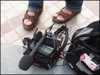 Gareth Mitchell's feet plus recording equipment, Bill Thompson