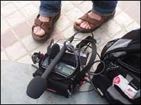 Gareth Mitchell's feet plus recording equipment, Bill Thompson
