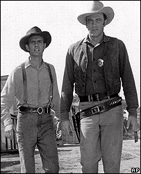 Dennis Weaver (l) and James Arness in Gunsmoke