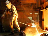 Worker at German steel firm Thyssenkrupp