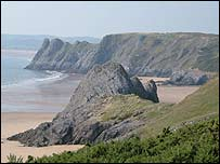 Three Cliffs Bay on Gower (photo by Sian Musgrave courtesy of the National Trust)