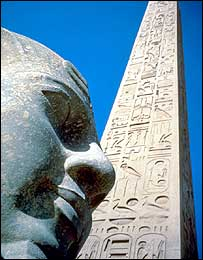 Egyptian statue and obelisk