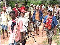 Tribals protesting against the Maoists