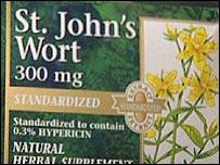 St John's wort herbal supplement