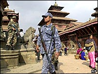 Soldiers on guard at Patan Durbar Square in Kathmandu