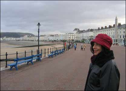 Rich Edwards' wife Jean on the promenade at Llandudno during a recent trip to Wales