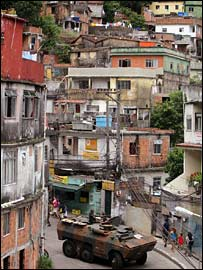 Houses clutter a hillside in one of the many favelas, or impoverished neighbourhoods, in Rio de Janeiro, Brazil