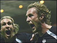 Rob Hulse (right) celebrates scoring with Matthew Kilgallon