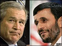 George W Bush and Mahmoud Ahmadinejad
