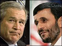 George W. Bush y Mahmoud Ahmadinejad
