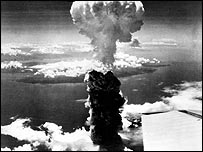 Mushroom cloud over Nagasaki - 9 August 1945