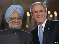 President Bush meets Indian Prime Minister Manmohan Singh in July 2005
