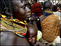 Mother and baby from drought-stricken region of Kenya