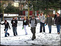 Students in the snow in Wrexham