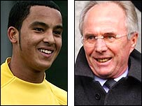 Arsenal striker Theo Walcott and England coach Sven-Goran Eriksson