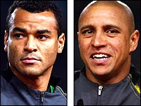 Brazil duo Cafu (left) and Roberto Carlos