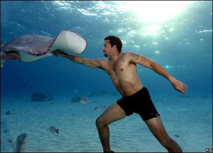 David Blaine trains in the Cayman Islands