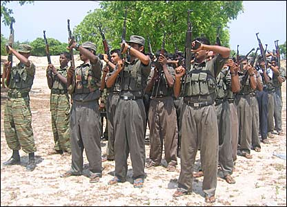 Tamil Tiger rebels in a training camp in eastern Sri Lanka