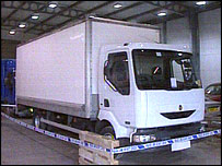 The lorry recovered in Kent by raid detectives