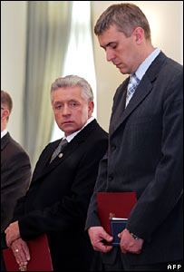 Andrzej Lepper, head of the Self-Defence Party, and Roman Giertych, leader of the League of Polish Families