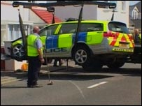 Police car at crash site