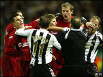 Newcastle v Liverpool fight