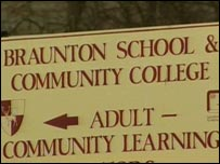 Braunton Community College sign