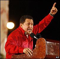 Venezuelan President Hugo Chavez at a recent rally