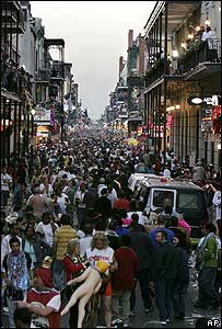 Carnival crowd throngs Bourbon Street, New Orleans