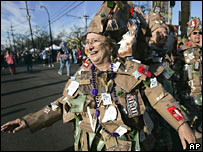 Harriet Robin wears a costume made from Meals Ready To Eat, which was served to hurricane refugees