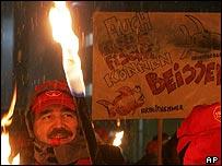 Striking workers at DaimlerChrysler