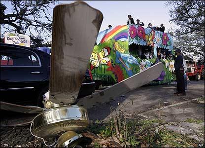 Float passes hurricane debris