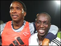 Shaka Hislop and Dwight Yorke