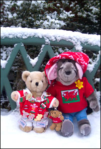Roland Rat and Teddy in snow taken for school project at Ysgol Gymraeg Rhyd y Grug, Merthyr