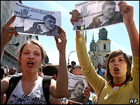 Student protest in Warsaw, 9 May 06