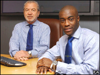 2005 The Apprentice winner Tim Campbell with Sir Alan Sugar