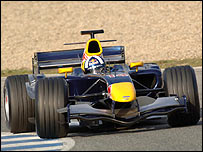 David Coulthard in the Red Bull during pre-season testing
